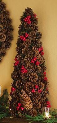 Rustic Pine Cone Christmas Tree Arrangement - Crumbs and Petals