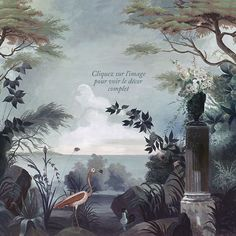 www.ananbo.com - Paysages colorés - Le jardin au flamant rose - couleur 340x268 - ultra mat