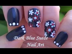 Dark Blue Floral Nail Art / SUEDE NAILS - Dotting Tool Flowers Design Fo...