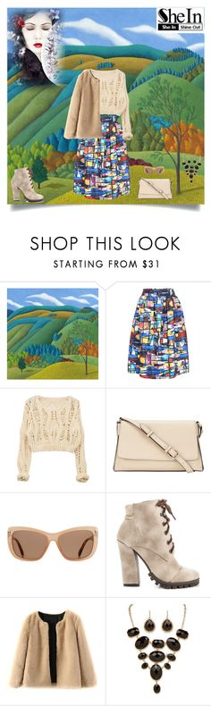 """""""Skirt by SHEIN"""" by bhattasharmaluna ❤ liked on Polyvore featuring Jane Troup, DKNY, Tom Ford, Michael Antonio, Palm Beach Jewelry, skirt, multicolored and shein"""