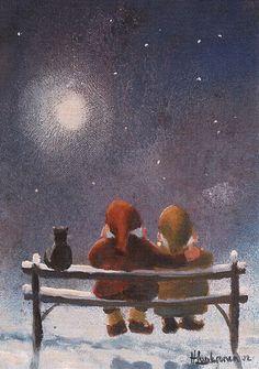 Gnomes having a romantic evening. Swedish Christmas, Father Christmas, Christmas Cats, Scandinavian Christmas, Merry Christmas, Winter Illustration, Cute Illustration, Watercolor Illustration, Troll
