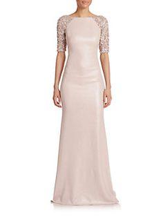 Badgley Mischka - Embellished Raglan-Sleeve Gown