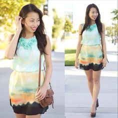 Whimsical Gradients: #fashionblogger #connnietang looks lovely and dreamy in our Tie Dye Me Up Belted Dress #ootd #lovely