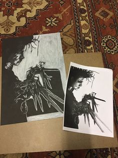 """Mikael Mahomed on Twitter: """"Hey @Disney what you guys think of my edward scissorhands drawing so far? That's like 5 hours of drawing there haha #TimBurton #OldSchool https://t.co/4IwnrEGxjy"""""""