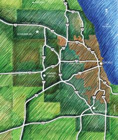 Chicago Area Map Randal Birkey Ilration