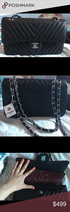 NWT Chevron caviar NWT Chanel in_spired double flap bag in black caviar w/ silver hardware. Comes w/ box, dustbag and cards. Only selling through $300 pay_pal w/ posh shipping! See my reviews for past sales 💕 Bags