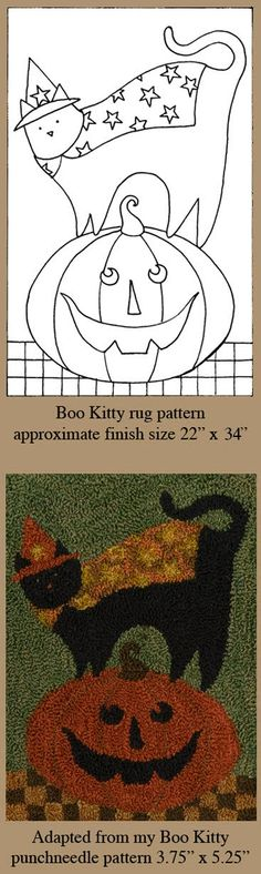 Example of using the same pattern for both rug hooking and punch needle and locker hook too!