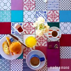 Good Morning!  Patchwork tiles on our table - B&B Avocado, Giardini Naxos, Sicily. Thanks to @magdamasano for this image!  #tileaddiction #madeamano #tiles #decoration#boards #piastrelle #cotto #pietralavica #architect #design #interiors #interiordesign #furniture #madeamanodesign #madeinitaly #caltagirone #sicilia #sicily #madeinsicily #interiors #covering #floor #wall #design #interiorstyling #homedecoration #lavastone #madeinitaly #lavastone #illycollection