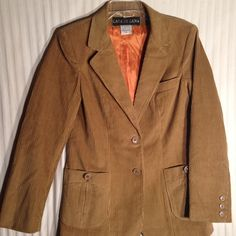 "Butterscotch colored corduroy jacket blazer. Butterscotch colored blazer size 8. Thick corduroy. Measurements: arms 23"". Bust 18"" across. From neck to bottom on backside 27"". No damage or stains. No smoking.  Inside pocket bonus. Vintage  Jackets & Coats Blazers"