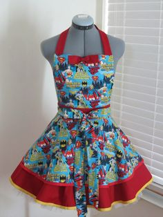 Super Heros Apron  With a sexy red bow  Pin Up by AquamarCouture, $47.99