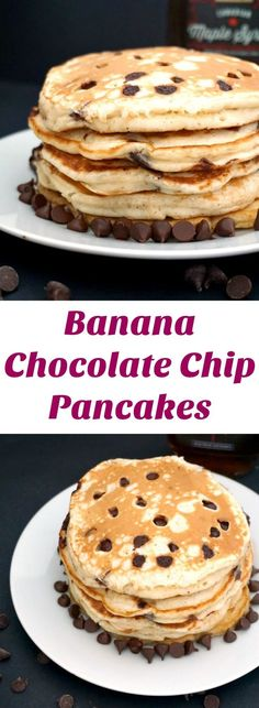 Banana Chocolate Chip Pancakes, the ideal indulgent breakfast or brunch. Fluffy, super easy to make, and ready in about 15 minutes or less, these pancakes are not to be missed. A real treat for the whole family on Pancake Day. Homemade Breakfast, Sweet Breakfast, Banana Breakfast, Breakfast Recipes, Pancake Recipes, Breakfast Buffet, Brunch Recipes, Breakfast Ideas, Pancakes From Scratch