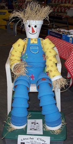 clay+pot+crafts+for+the+garden | Clay pot scarecrow. Nice paint job.
