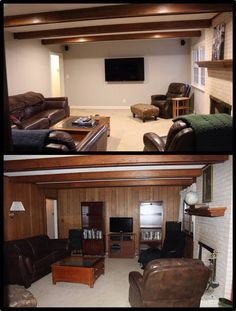 Painted wood paneling - before and after photos. Night and day! One coat of primer and two coats of color on walls and trim. No sanding needed.                                                                                                                                                      More