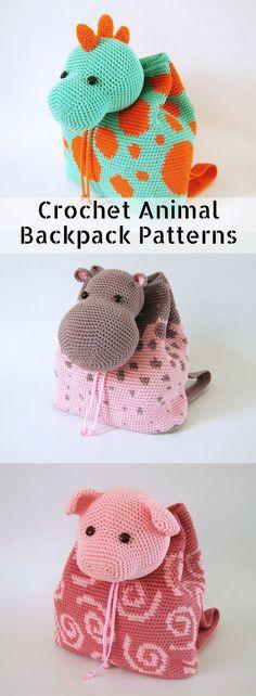 4 different crochet patterns for kids animal backpacks. I love the dinosaur one! #etsy #ad
