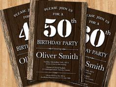 Etsy listing at http://www.etsy.com/listing/175376528/50th-adult-birthday-invitation-wood
