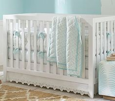 Organic Malibu Chic Nursery Bedding Bumper Set, Aqua