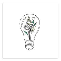 Find & buy curated fine art prints like Grow Ideas Lightbulb from artist Peggy Dean Sharpie Drawings, Outline Drawings, Pencil Art Drawings, Art Sketches, Tattoo Outline Drawing, Simple Line Drawings, Easy Drawings, Indie Drawings, Lightbulb Tattoo