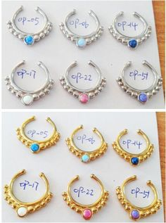 2015 popular surgical steel silver/gold fake/faux indian septum nose ring no piercing opal septum nose ring