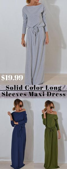 Casual Dresses for Women Long Sleeve Maxi, Maxi Dress With Sleeves, Casual Dresses, Casual Outfits, Cute Outfits, Fitted Dresses, How To Have Style, My Style, Modest Fashion