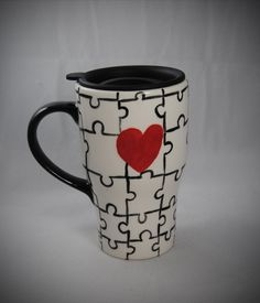 Puzzle Love Travel Mug with a lid: this one looks like you would like it, @Deb Belanger!