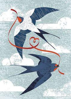 Swallows with ribbon flying at Isle of Sky for Curiouser and Curiouser cards - Kate McLelland Illustration Dibujos Zentangle Art, Watercolor Paintings, Art Paintings, Bird Pictures, Bird Illustration, Grafik Design, Bird Art, Blue Bird, Pet Birds