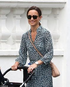Pippa looks stylish in a blue floral dress as she takes Arthur for a stroll in west London Pippa Middleton Dress, Kate Middleton Family, Hudson Taylor, Kate Hudson, Pippa And James, Disney Inspired Fashion, Disney Fashion, Taylor Swift Outfits, London Today