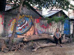O artista francês Seth Globepainter transpassa um lado mais humano em suas obras gigantes inspiradas em comunidades. Arte feita em Phnom Pehn, Cambodja. #StreetArt #Graffiti