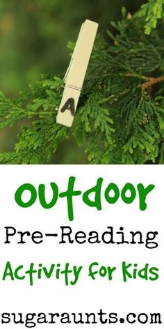 Outdoor Scavenger Hunt for Pre-readers. This is a fun literacy activity to do outside. From Sugar Aunts