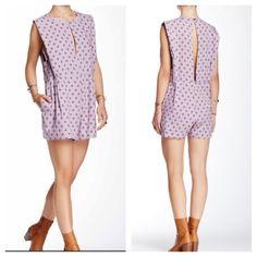 FREE PEOPLE Cocktail Jumpsuit Romper Playsuit NWT NWT IN SOLD OUT COLOR SMOKE PURPLE  Retail $108 Free People Pants Jumpsuits & Rompers
