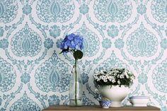 Cómo decorar con papel pintado tu pared. Papel pintado vintage.