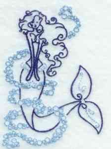 This free embroidery design is an art deco mermaid.