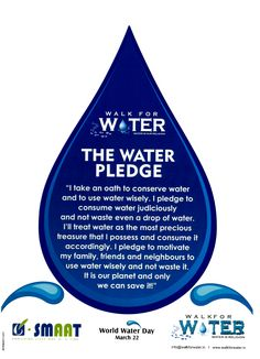 Take a pledge to save water. International Water Day, Save Water Quotes, Wow Journey, Brownies Activities, Long Walk To Water, Biodata Format, Green School, Water Waste, World Water Day