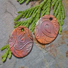 Handmade Copper Paisley Oval Pair. $17.00, via Etsy.