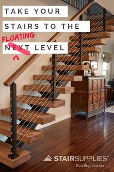 StairSupplies' floating stairs elevate the look of your home; they're both classy and sleek. StairSupplies' floating stairs elevate the look of your home; they're both classy and sleek. Staircase Remodel, Staircase Railings, Stairways, Loft Staircase, Staircase Ideas, Railing Design, Staircase Design, House Stairs Design, Home Remodeling Diy