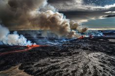 Eruption in Iceland - love the rough textured black, the slit of fire and dirty steam clouds. Summarises Todd's inner state and suggests an approach to dressing him. Lava, Volcano Pictures, Storm Pictures, Roman Names, In The Hole, Cool Landscapes, Geology, Geography