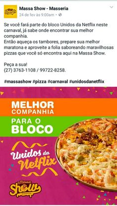 Cliente: Massa Show Agência: Guia Comunicação Texto e briefing da imagem: Fernanda Sinfronio