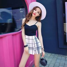 Sexy waist strap stitching hit color plaid shorts skirts hanging piece jumpsuit