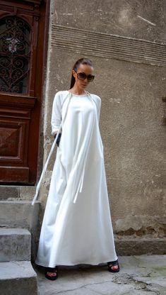 102d1dd7de6f New Maxi Dress   Off White Kaftan Cotton Dress  Side Pockets Dress    Extravagant Cotton