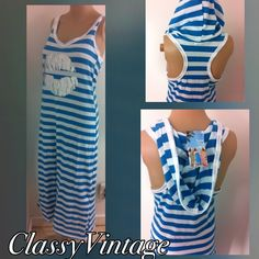 Vacation - Beach ready? Hooded cover up Fun bright blue and white maxi length  Cover up. Slip on style with a hood and silver lips on front. This is size M. This is a soft stretchy 65% polyester & 35 % cotton. Racer style back and bright white and teal blue stripes. Bust 34, waist 30 , hips 34 and length 49 inches. Fabric feels like your favorite tee. Boutique Dresses