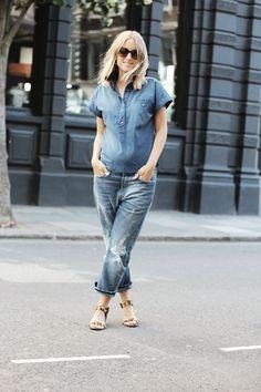Acne jeans, Zara denim shirt, Zara leopard sandals, and Prada sunglasses