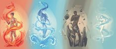 Elemental spirits by Rigrena on DeviantArt Magia Elemental, Elemental Magic, Elemental Powers, Character Poses, Character Art, Character Design, Avatar The Last Airbender Art, Avatar Aang, Art Drawings Sketches