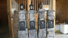 Made from styrofoam coolers. I left like 40 of those coolers behind in the garage. Halloween Forum, Halloween Graveyard, Halloween Tombstones, Halloween Party Supplies, Halloween 2013, Halloween Projects, Diy Halloween Decorations, Holidays Halloween, Happy Halloween