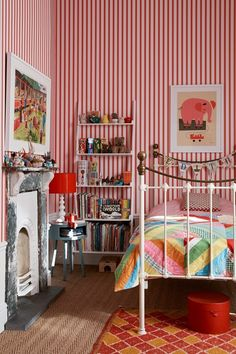 Kid's Bedroom in a grand Victorian Country House in Shropshire - on HOUSE by House & Garden. The decor of this house enhances original features combining them with a mid-century twist.