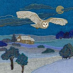 Bright Seed Textiles - Harris Tweed art, prints & greetings cards by Jane Jackson Art Textile, Textile Artists, Owl Embroidery, Freehand Machine Embroidery, Wool Applique Patterns, Owl Applique, Denim Art, Wool Quilts, Quilt Modernen