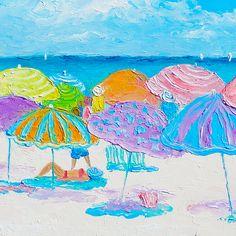 Another busy beach day!  #beachpaintings #beachhousedecor #beachcottagedecor  #coastaldecor