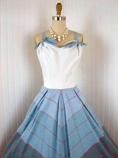 1940s 1950s Dress - TWIST OF FATE Vintage 40s 50s Blue White Designer Cotton Party Sundress and Bolero Jacket m l. $138.00, via Etsy.