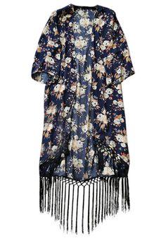 Black Floral Tassel Kimono