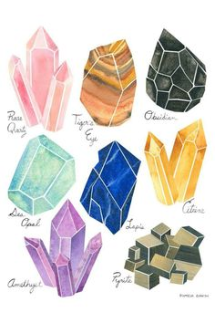 JaxKelly Crystals Print by PamelaBaronDesigns on Etsy Gem Drawing, Painting & Drawing, Illustration Cristal, Crystal Drawing, Book Of Shadows, Watercolor Print, Watercolor Paper, Doodle Art, Art Tutorials