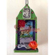 Wood Nicho Ornament: Frida Milagro with El Venado Loteria Card, by Susie Carranza. Available at www.ArtedeNuestroCorazon.com  #Frida #handmade