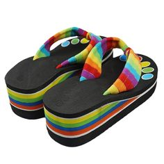 Cheap fashion slippers, Buy Quality sandals slippers directly from China colorful slippers Suppliers: piatta sandali 2017 Fashion Colorful Summer Fashion Slippers Sandals With High-Heeled Sandals zapatos mujer shoes woman Cheap Flip Flop Slippers, Flip Flop Sandals, Rainbow Flip Flops, Flip Flops Damen, Platform Flip Flops, Rubber Sandals, Fashion Slippers, Frauen In High Heels, Slipper Sandals